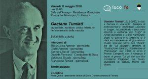 Ricordo di Gaetano Tumiati. Ferrara 11 maggio 2018